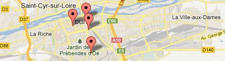 Carte des Hôtels partenaires du Grand Prix de Tours